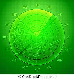 Green radar screen. - Green radar screen over grid lines and...
