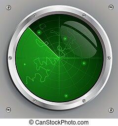 green radar screen - radar screen with the image of green...