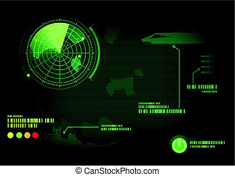 Green radar screen. Vector illustration