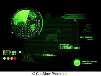 Green radar screen. Vector illustration