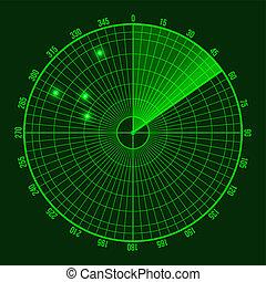 Green Radar Screen. Vector