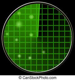 Green radar screen with blops