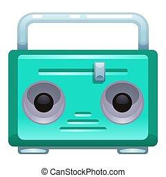 Green radio icon, cartoon style