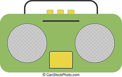 Green radio, illustration, vector on white background.