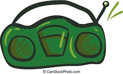 Green radio , vector or color illustration