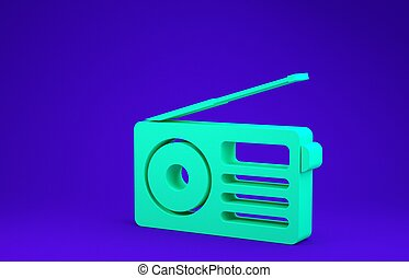 Green Radio with antenna icon isolated on blue background. Minimalism concept. 3d illustration 3D render