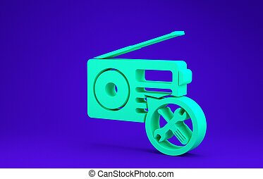 Green Radio with screwdriver and wrench icon isolated on blue background. Adjusting, service, setting, maintenance, repair, fixing. Minimalism concept. 3d illustration 3D render