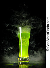 Green radioactive alcohol with biohazard symbol inside