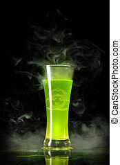 Green radioactive alcohol with biohazard symbol inside