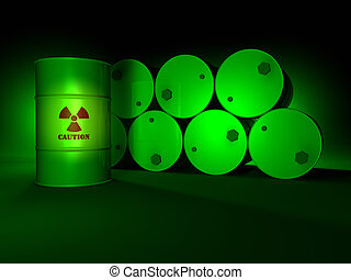 Radioactive barrels in the green light, dark background, 3d render