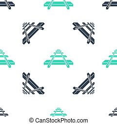Green Railroad icon isolated seamless pattern on white background.  Vector