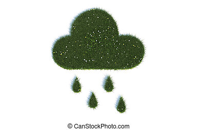 Green Rain Cloud Series Symbols out of realistic Grass