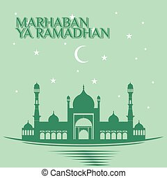 Green Ramadan Kareem design with Mosque and sky background