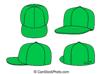 Green rap cap - Outline rap cap vector illustration isolated...
