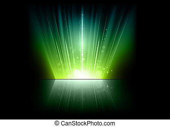 green rays on the dark