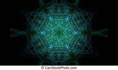 Green rays fractal in tunnel motion, rotating beams bundle...