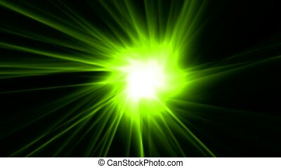 green rays laser and fire in space