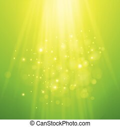 Green rays of light. Vector bokeh blurred background