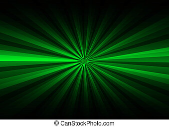 Green rays on black background