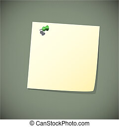 Green read note paper with pin