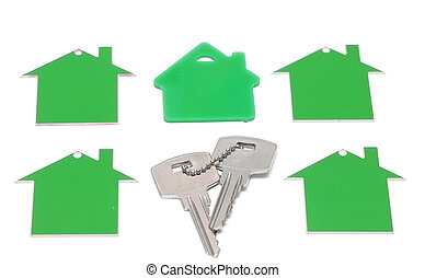 green real estate, house icon, isolated on white background.