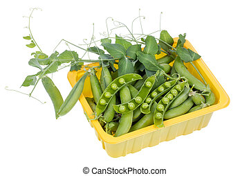 Green real fresh pea in box isolated