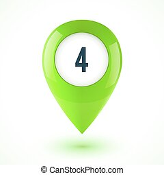 Green realistic 3D vector glossy map point symbol