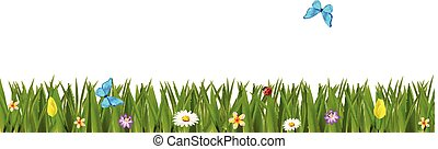 Green realistic grass border with colorful flowers and butterflies