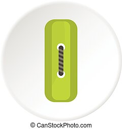 Green rectangle sewing button icon circle