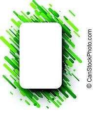 Green rectangular background on white.