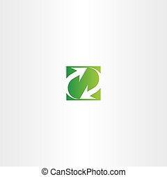 green recycle arrow square sign symbol