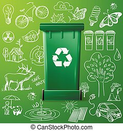 Green Recycle Bin and Ecology doodle icons. excellent vector illustration, EPS 10
