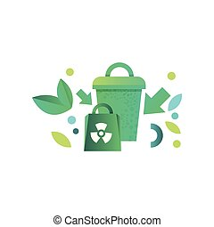 Green recycle bin and paper bag with recycle symbol vector Illustration on a white background
