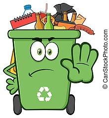 Green Recycle Bin Gesturing Stop
