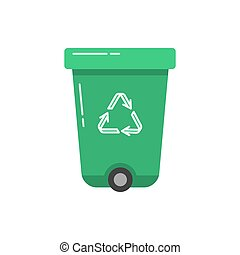 Green recycle bin icon in flat style.