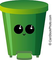 Green recycle bin, illustration, vector on white background