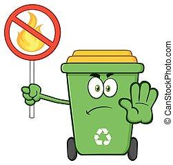 Green Recycle Bin Mascot Character