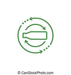 green recycle bottle arrow logo vector