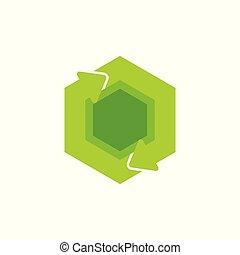 green recycle circle hexagonal arrow symbol logo vector