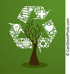 Recycle symbol with eco friendly save the planet tree. This vector illustration is layered for easy manipulation and custom coloring