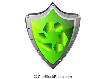 green recycle ecology Sign on metal
