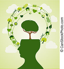 Ecologic renewable energy icons human head. This vector illustration is layered for easy manipulation and custom coloring