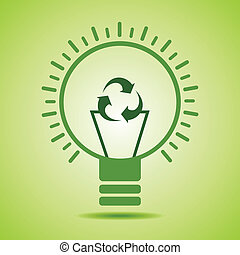 Green recycle icon make filament of an eco bulb stock vector