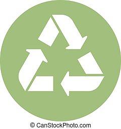 Green recycle icon minimal clean symbol design.