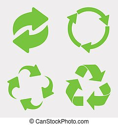 Green recycle icon set