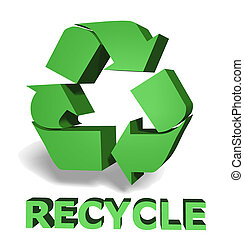 green recycle icon 3d on white background