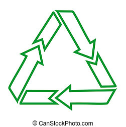 Green recycle icons on white backgr