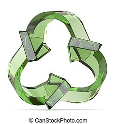 Green recycle sign, three arrows 3D