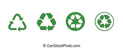 Green Recycle symbol for banner, general design print and websites. Illustration vector.
