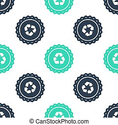 Green Recycle symbol label icon isolated seamless pattern on white background. Environment recycling symbol. Vector